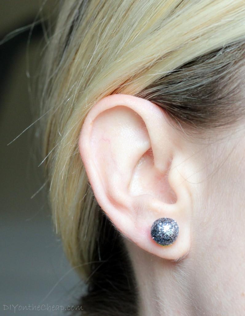 Make DIY Glitter Ball Earrings using Premo clay.