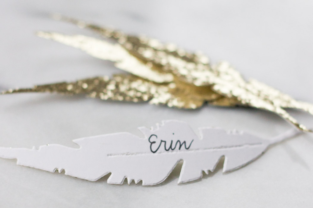 DIY Feather Thanksgiving Place Cards