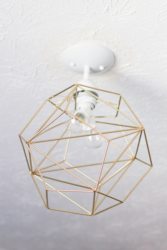 DIY Geometric Pendant Light in the master closet