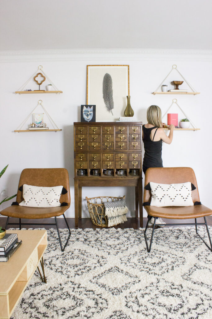 DIY Boho Living Room and Home Office Makeover