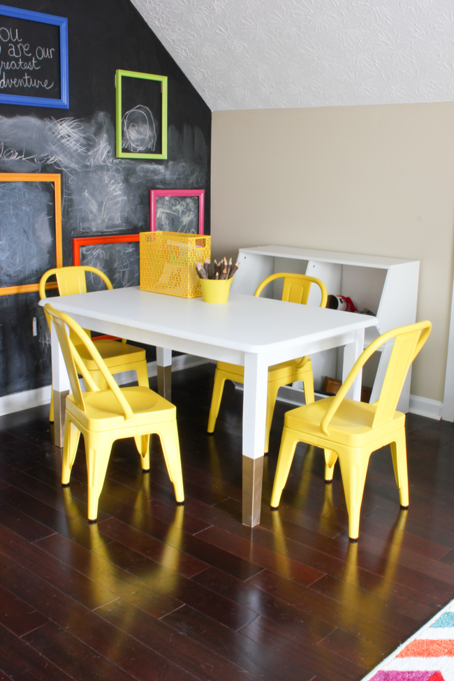 Thrift Store Challenge: Old dining table becomes cute kid's art table.