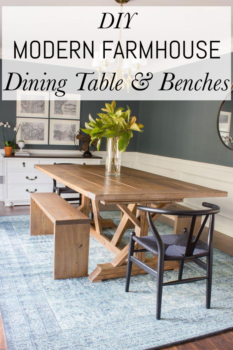 diy modern farmhouse dining table benches 1