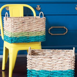 These DIY Ombré Dyed Baskets are SO easy to make using FolkArt® Ultra Dye! Check out this step by step tutorial from ErinSpain.com.