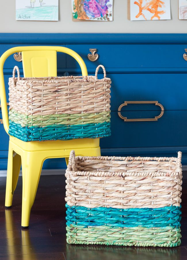 DIY Ombré Dyed Baskets for Toy Storage