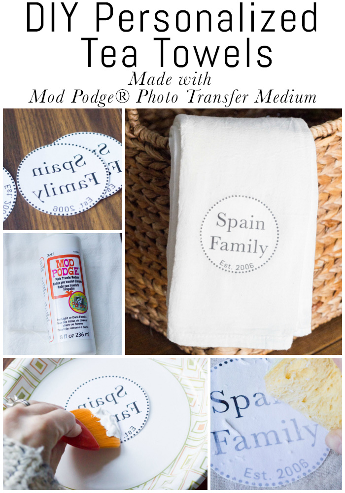 Learn how to make DIY personalized tea towels using Mod Podge Photo Transfer Medium!