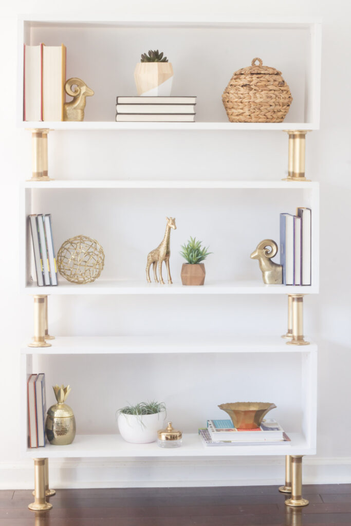 DIY gold pipe bookshelf