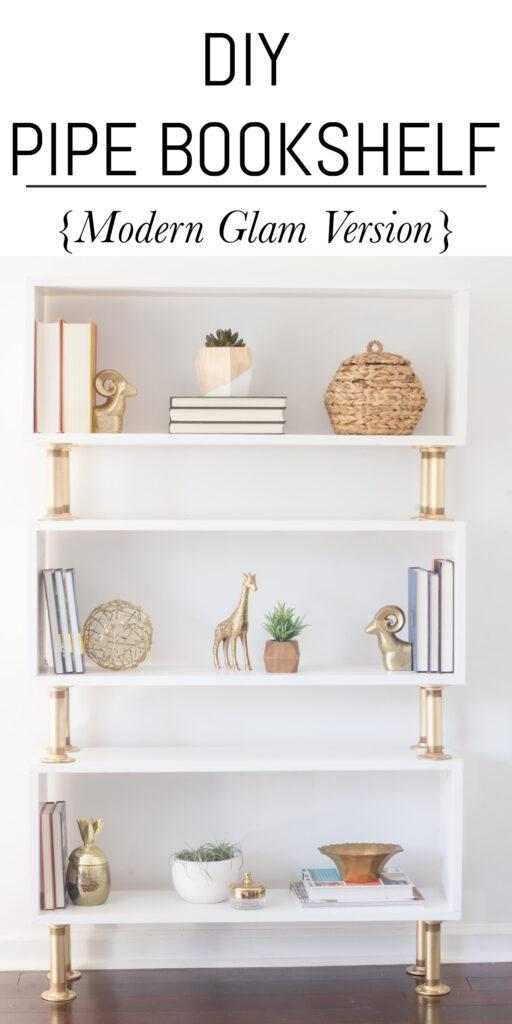 DIY Pipe Bookshelf with modern gold pipe