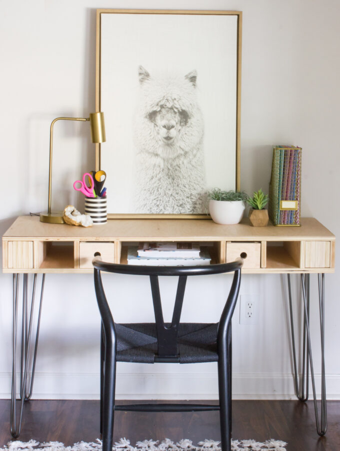 DIY Plywood Desk with Hairpin Legs