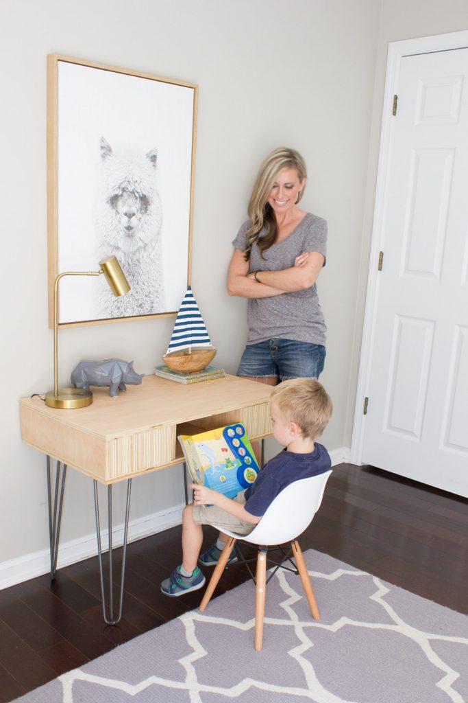 Learn how to make this DIY Plywood Kid's Desk with this step by step tutorial from ErinSpain.com!