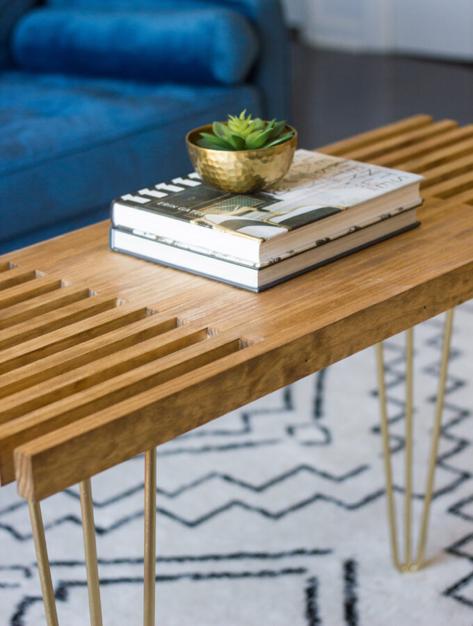 DIY Slatted Coffee Table with Hairpin Legs