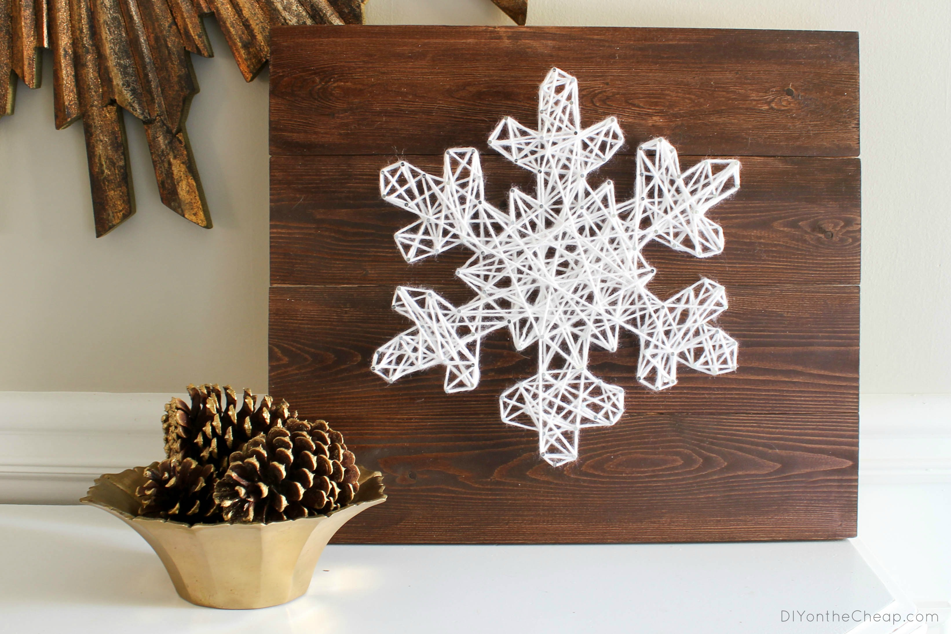 DIY Snowflake String Art + 18 Easy to Build Christmas Projects