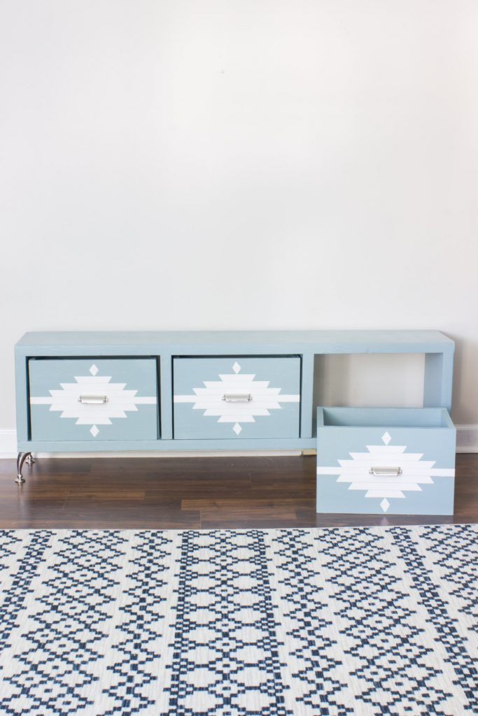 DIY Aztec Patterned Storage Bench