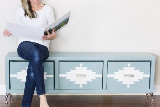 DIY Aztec Patterned Storage Bench: #BEHRBox Challenge Reveal