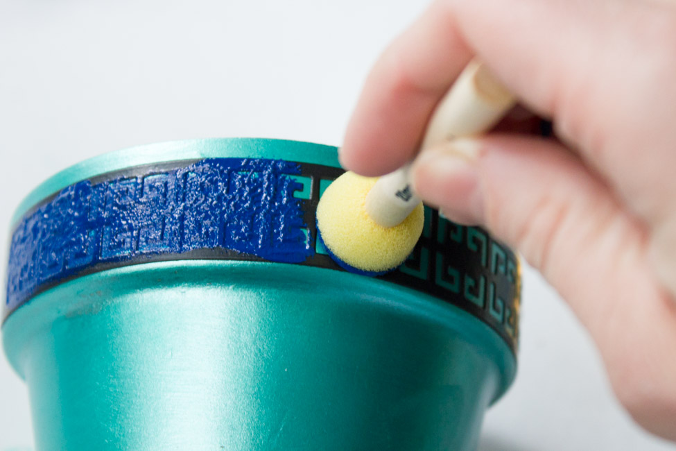 How to make a DIY Greek Key Stenciled Succulent Pot. The perfect easy craft for spring!
