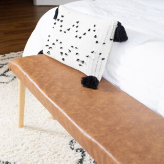 DIY upholstered faux leather bench