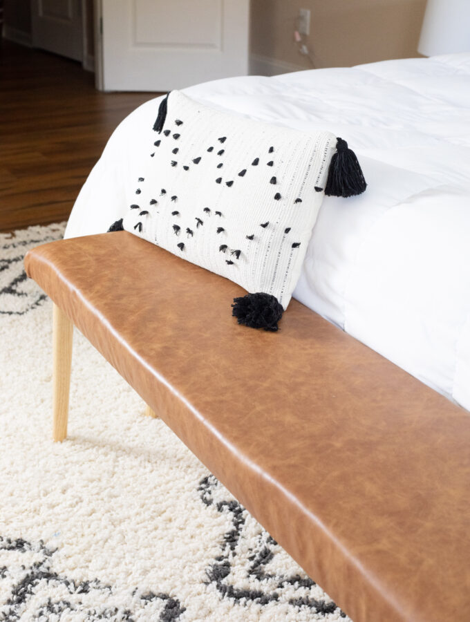 Easy DIY Faux Leather Upholstered Bench in Under an Hour