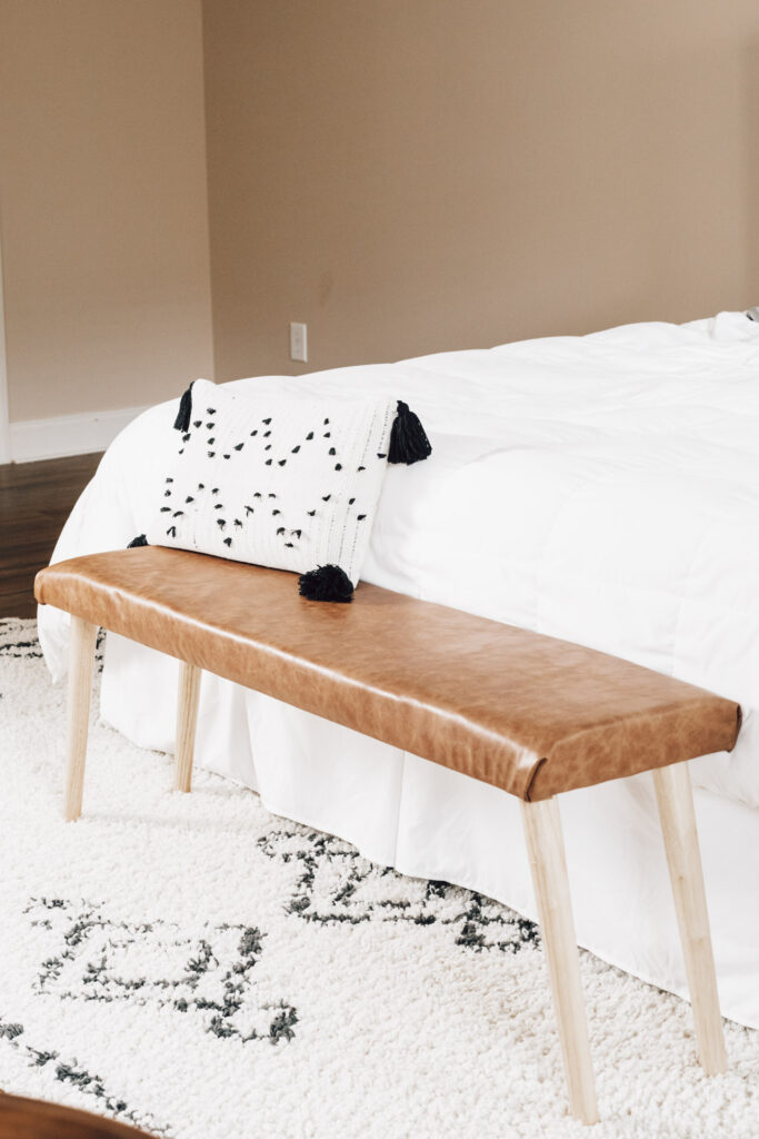 DIY faux leather upholstered bench