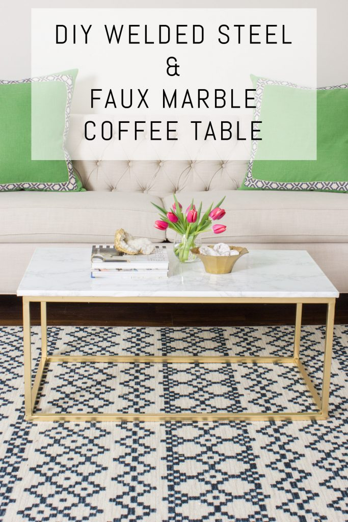 """Check out this welding project! Welded steel and faux marble coffee table. The """"marble"""" was only $20 and is super convincing!"""