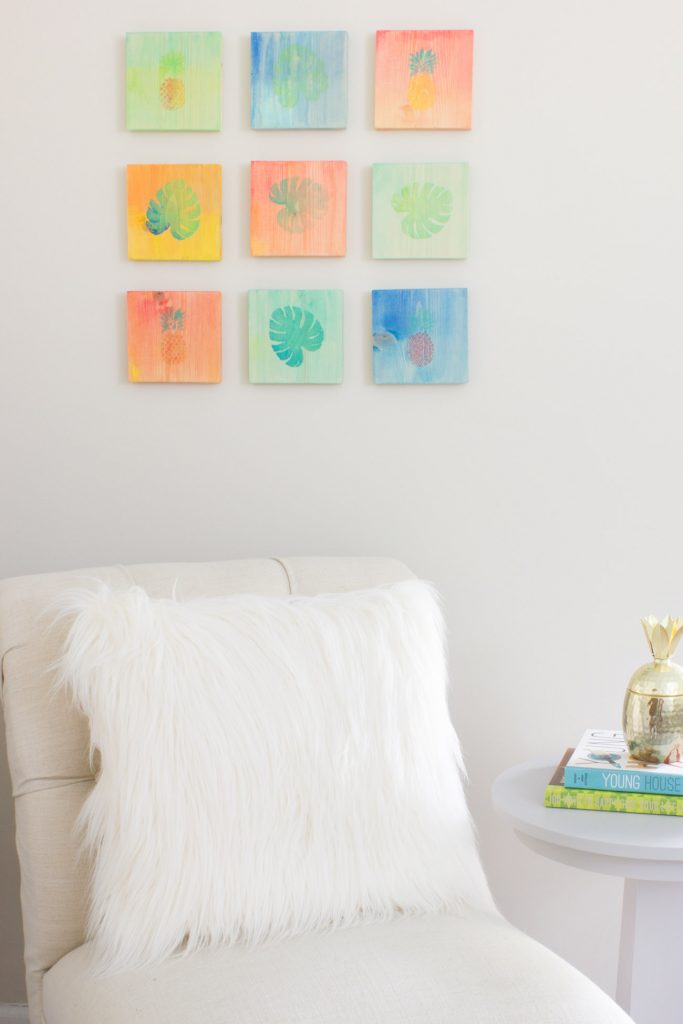 See how to turn basic wooden squares into DIY tropical watercolor art with Martha Stewart Watercolor Crafts® Paint!