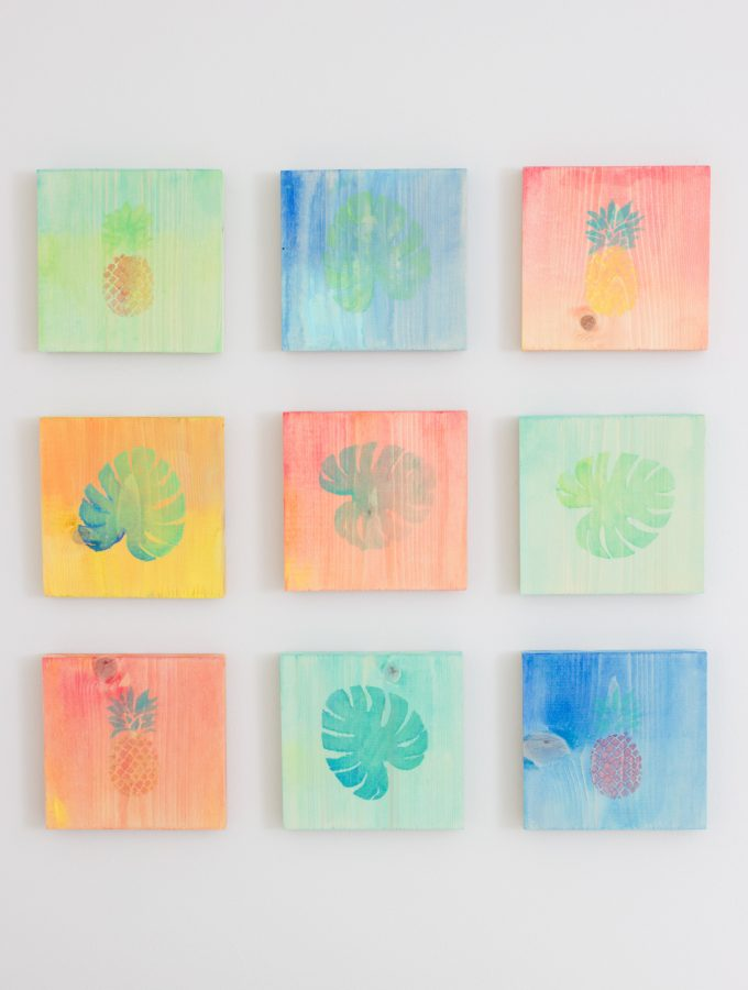 DIY Tropical Watercolor Art on Wood