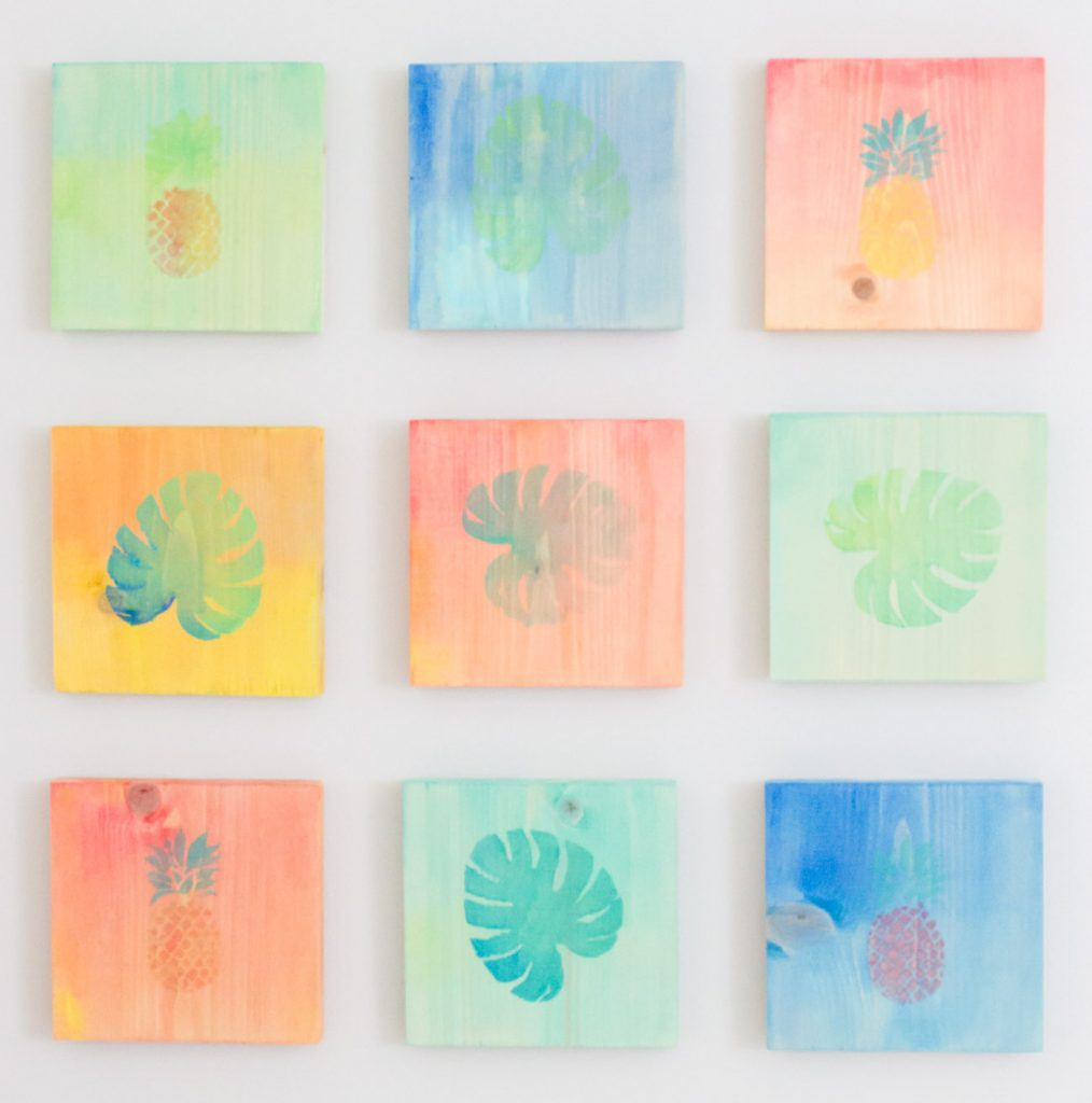 Diy Tropical Watercolor Art On Wood Erin Spain