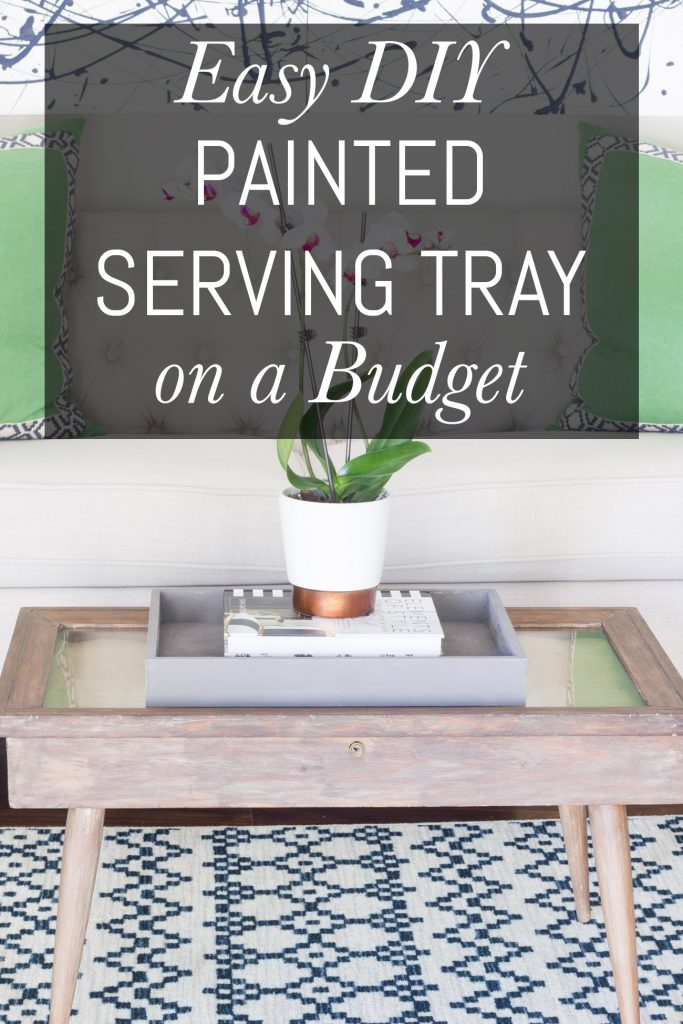 Inexpensive unfinished wood serving tray + FolkArt Coastal paint = so pretty! Find out exactly how to make this easy DIY painted serving tray on a budget.