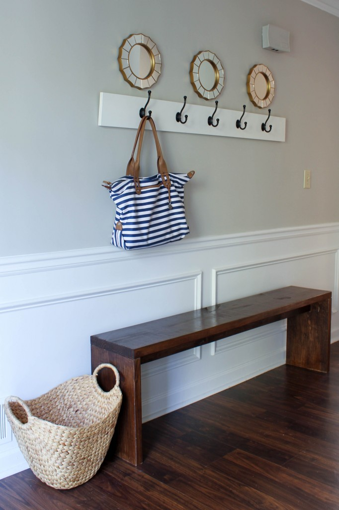 Entryway with DIY bench and coat rack.