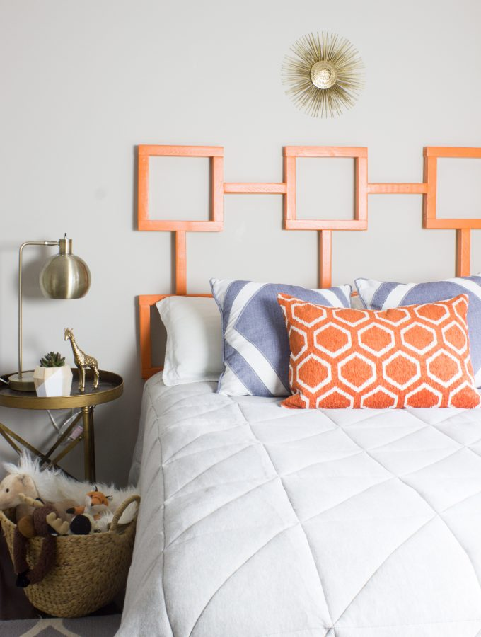 DIY Headboard: Geometric Shape & Fun Color!