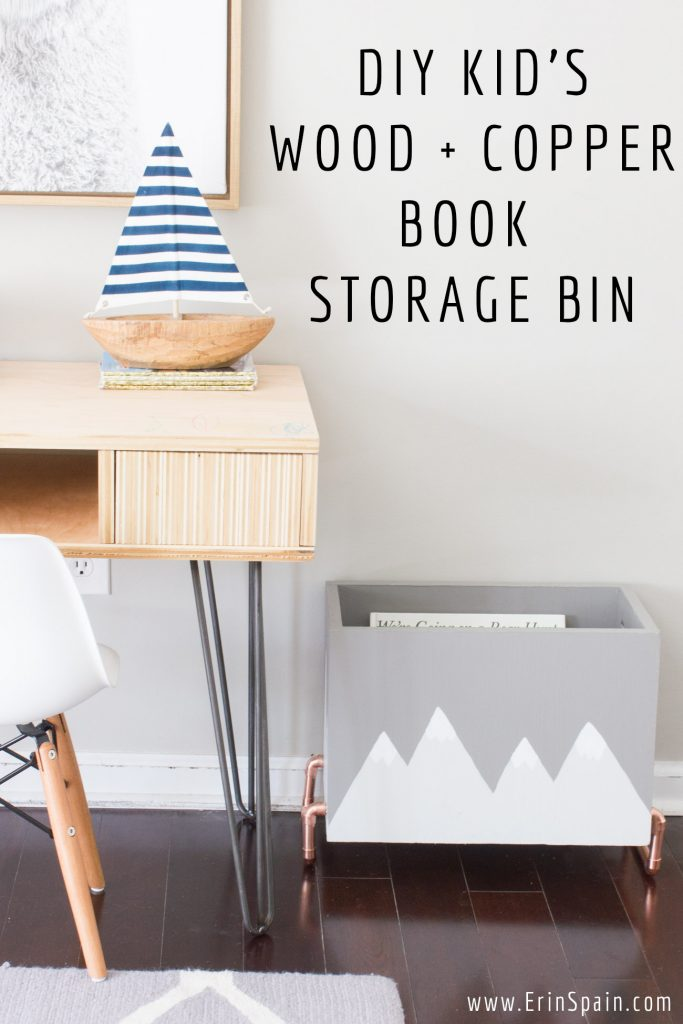 DIY Kid\'s Wood & Copper Book Storage Bin - Erin Spain