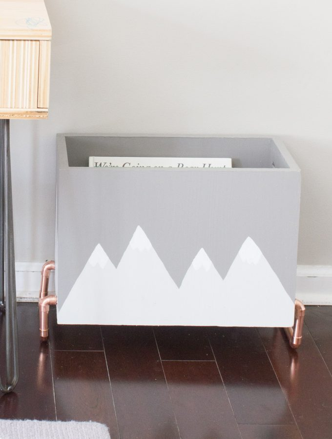 DIY Kid's Wood & Copper Book Storage Bin