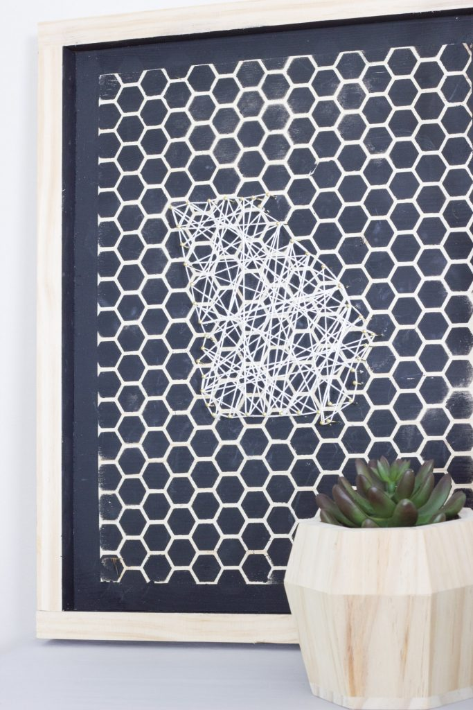 IKEA TARVA nighstand hack and DIY stenciled string art tutorial.