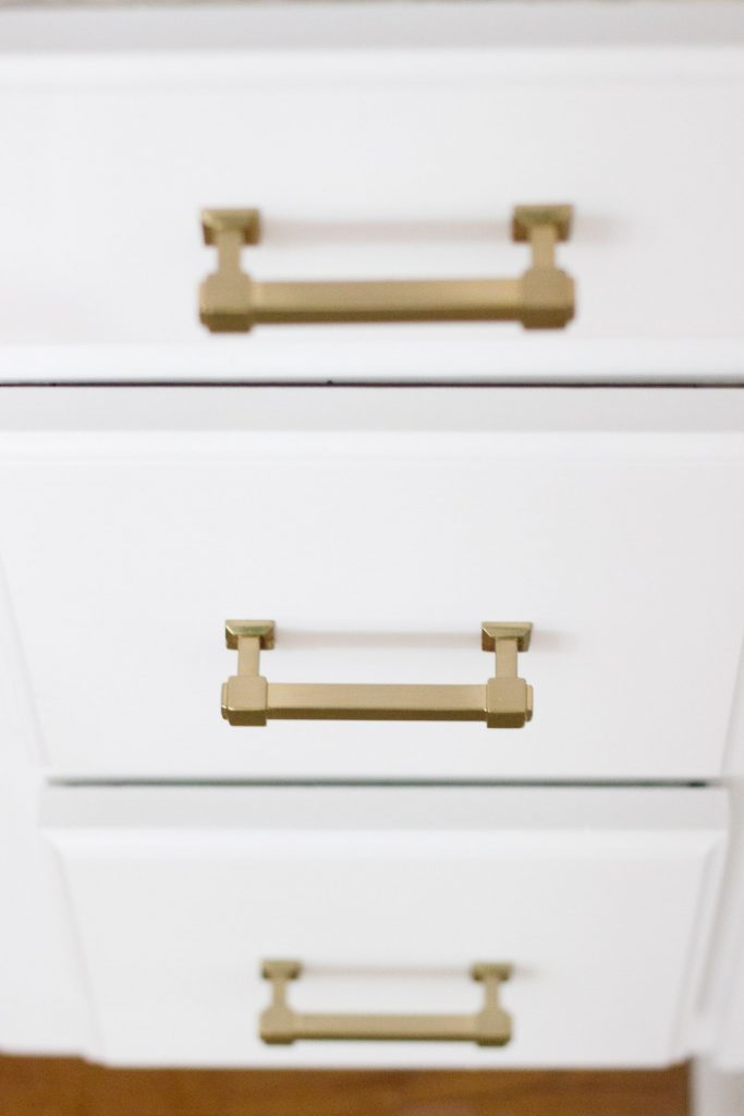 Kitchen desk makeover with Liberty Classic Square hardware in Champagne Bronze.
