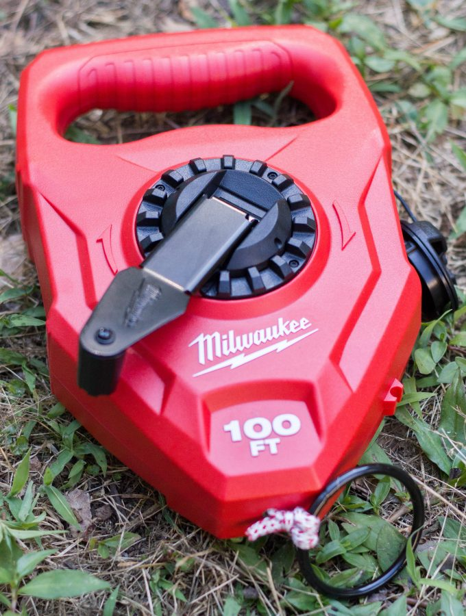 This Milwaukee large capacity chalk reel comes in handy for outdoor projects! We used it to mark where we wanted to create a garden bed in our back yard.