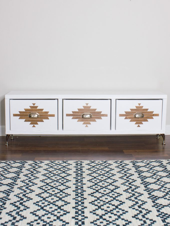 DIY Storage Bench with an Aztec Inspired Design 2.0