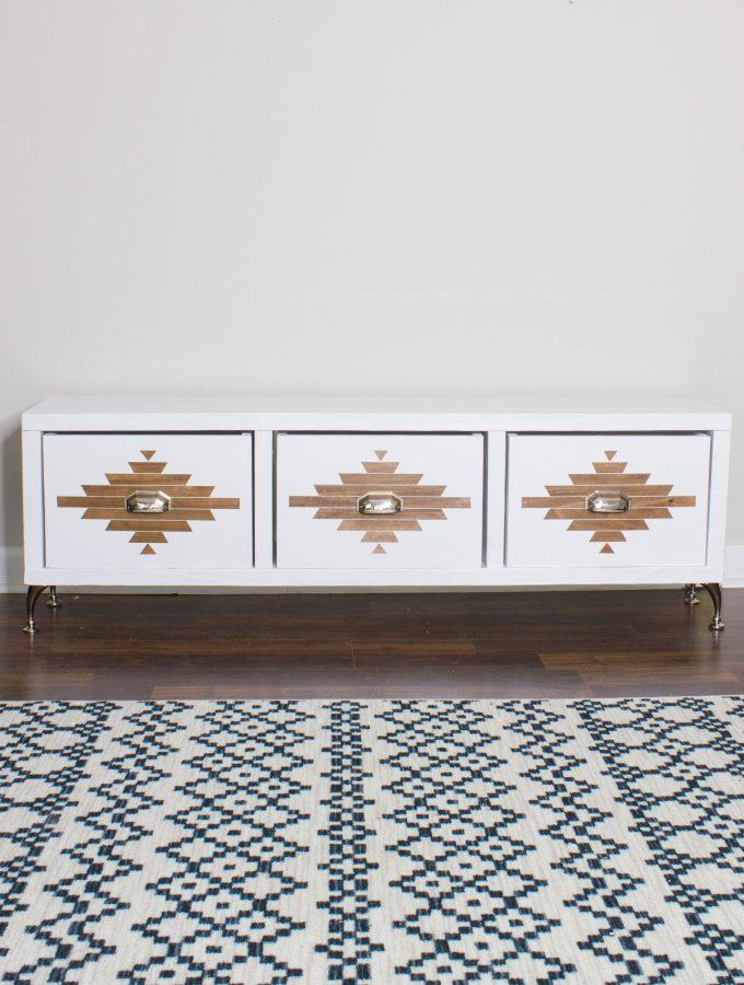 DIY Storage Bench with an Aztec Inspired Design 2.0