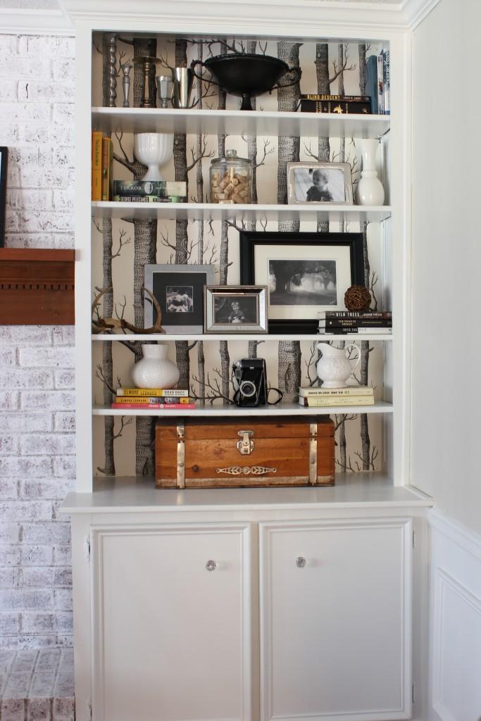 Neutral Family Room - Birch Tree Wallpaper on Built-in Bookshelves