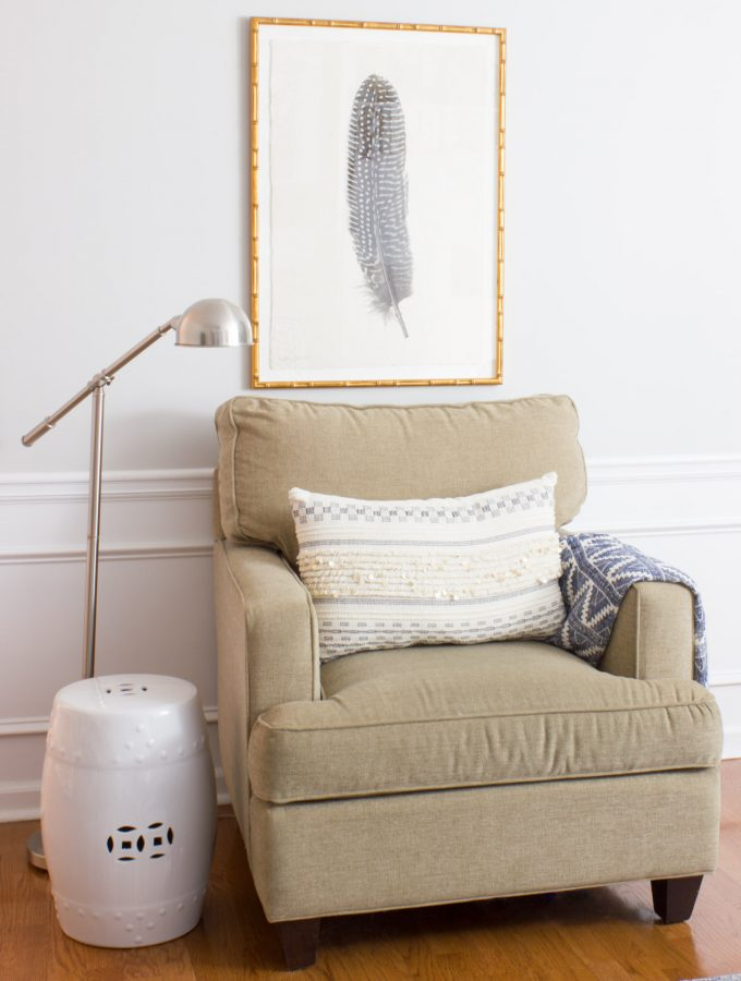 Family Room Sneak Peek & Custom Framed Feather Art