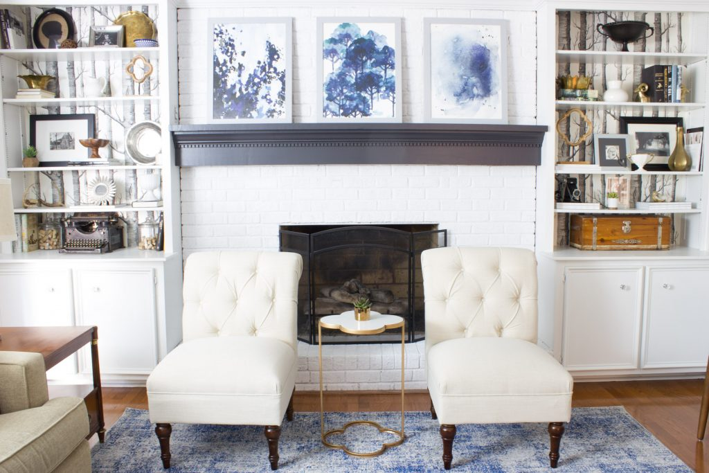 In love with this family room makeover in shades of blue and indigo!