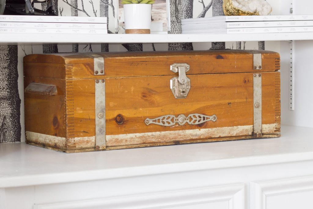 This vintage box was a family heirloom. I love decorating with pieces that have a history!
