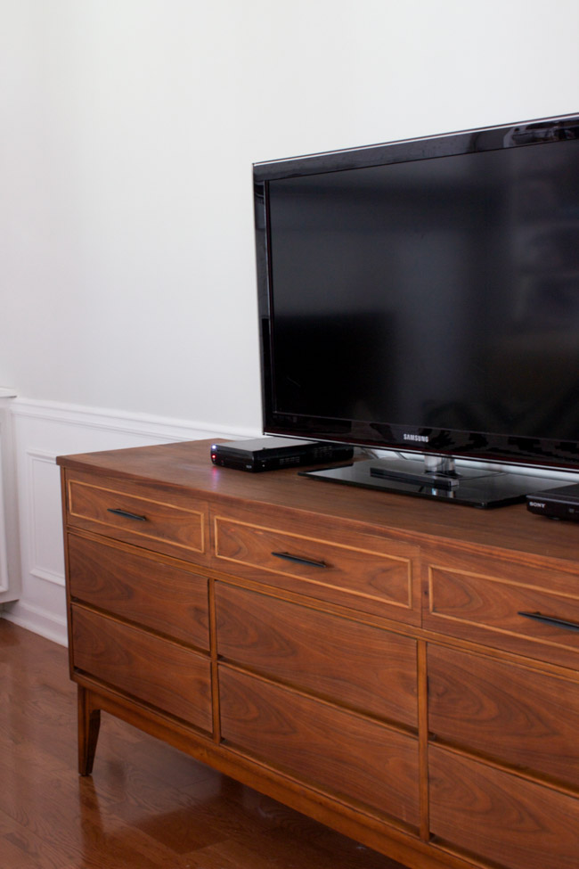 Mid Century credenza as a TV stand in the family room.
