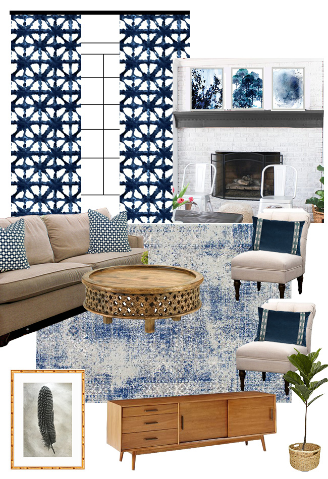 Living Room Makeover Plans: Check out this moodboard full of shades of navy and indigo. Sources included at ErinSpain.com.
