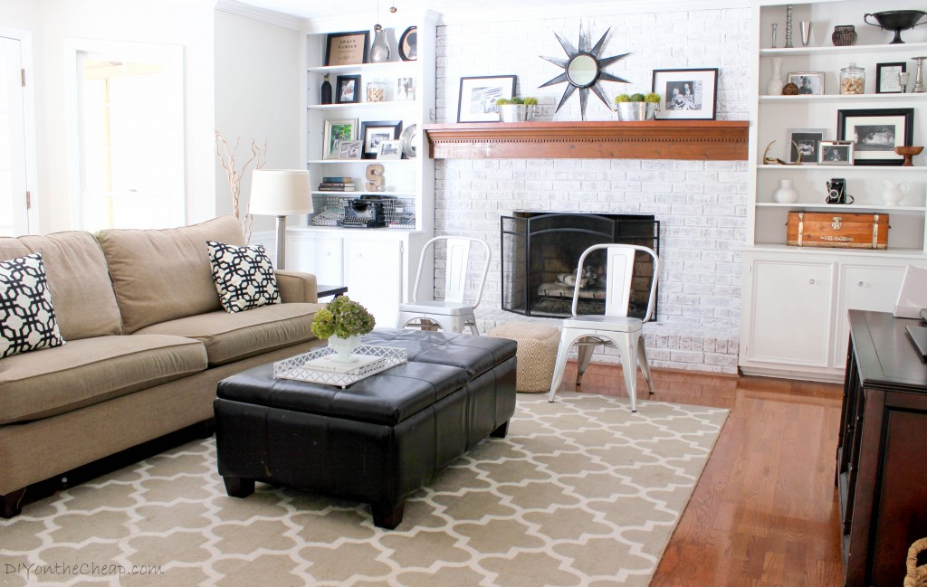 How to Whitewash a Brick Fireplace (2015 Year in Review: Favorite Posts at DIYontheCheap.com)
