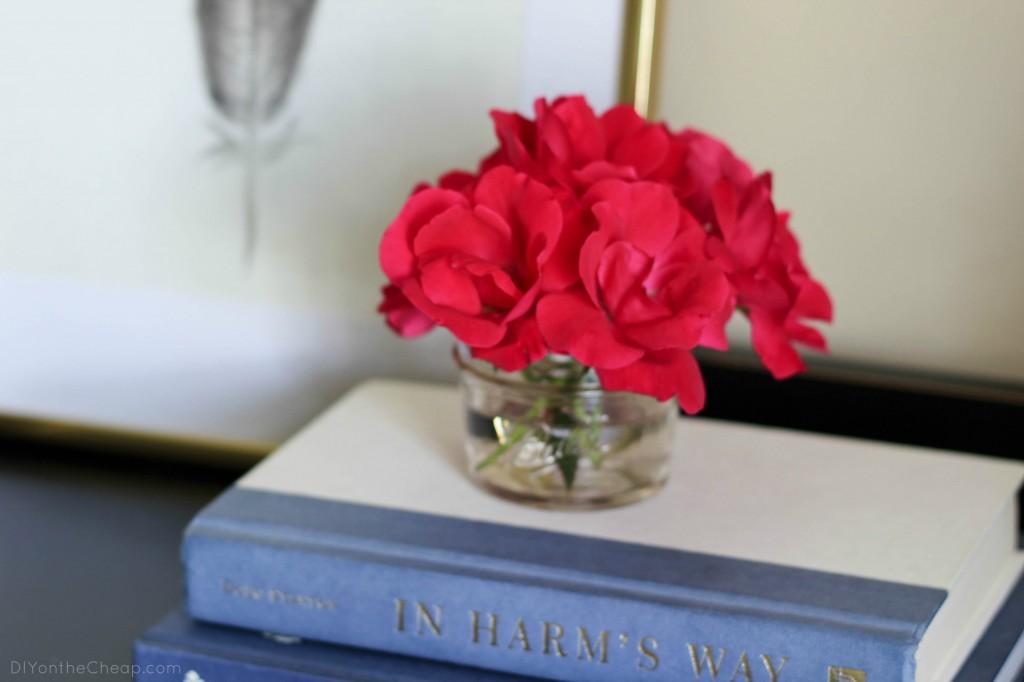 Roses in a mini Ball Jar