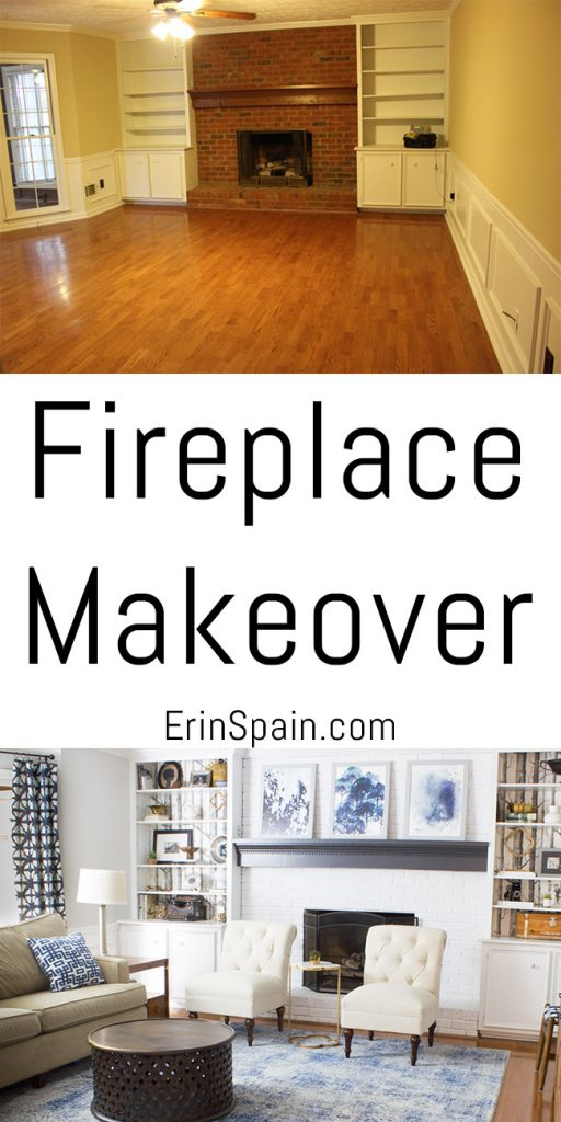 Check out this fireplace makeover by Erin Spain! Get all the details and see the whole process at ErinSpain.com.