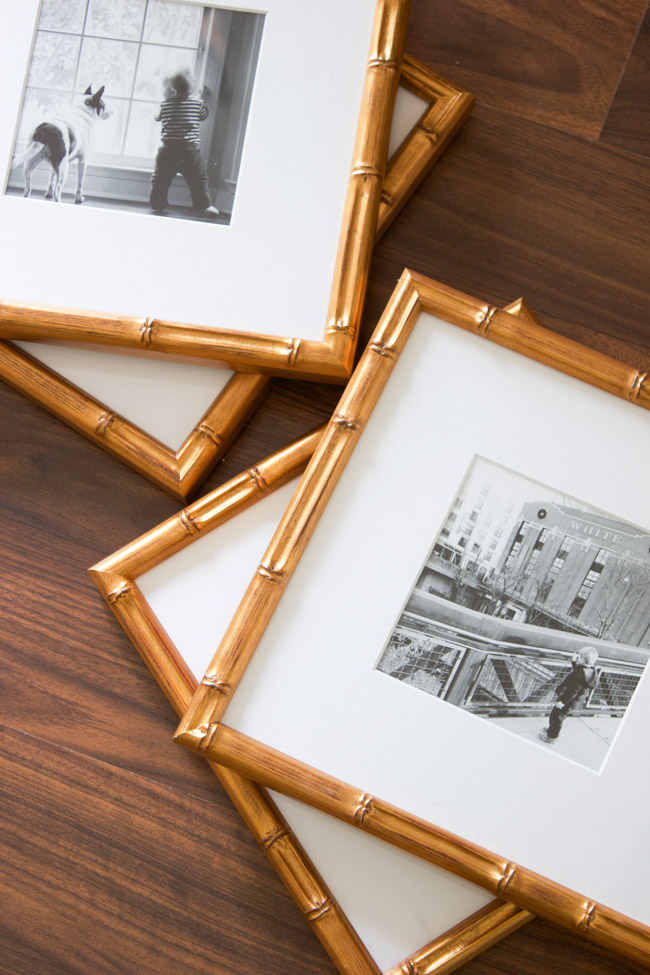 These gold Mandalay frames from Framebridge in the Master Bedroom are stunning!