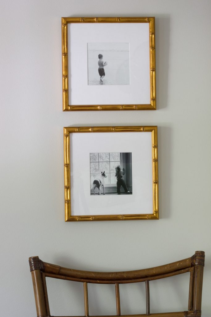 These Mandalay frames from Framebridge display black and white Instagram photos in this master bedroom makeover, which was transformed as part of the One Room Challenge.