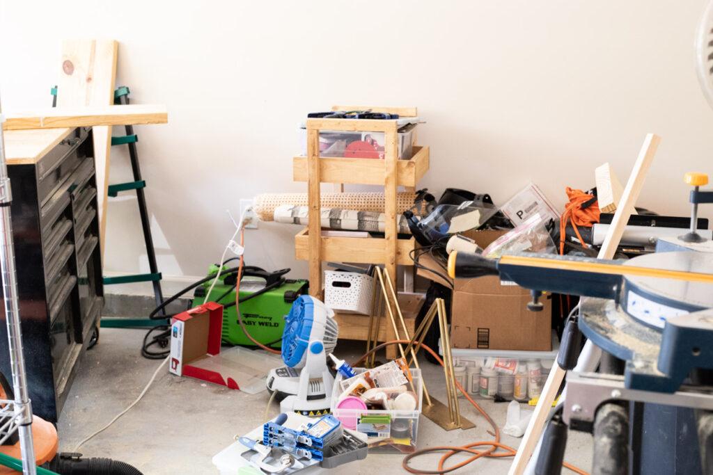 Messy garage workshop