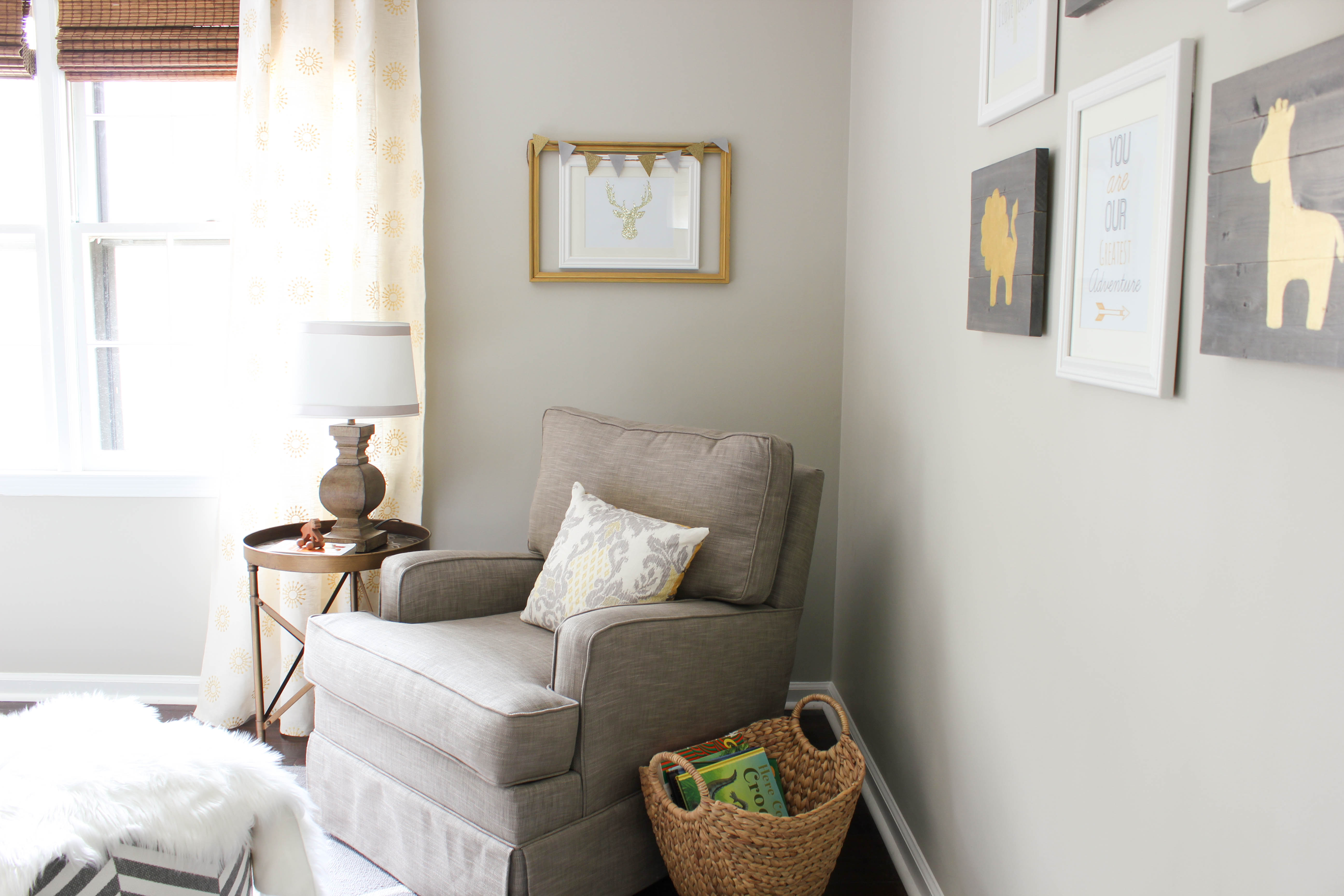 Gray And Gold Gender Neutral Nursery Wall Color Revere Pewter By Benjamin Moore