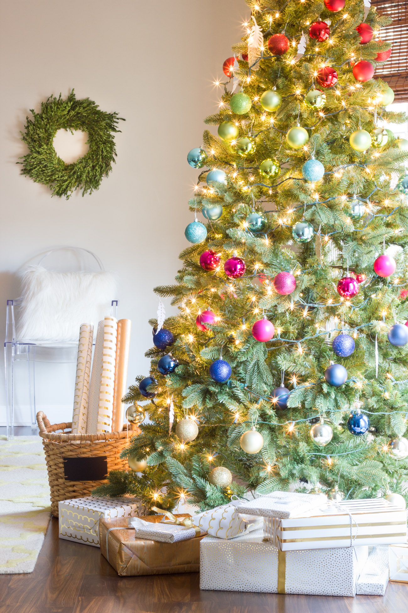Holiday home tour part 2 colorful christmas decorations for Colorful christmas tree decorations