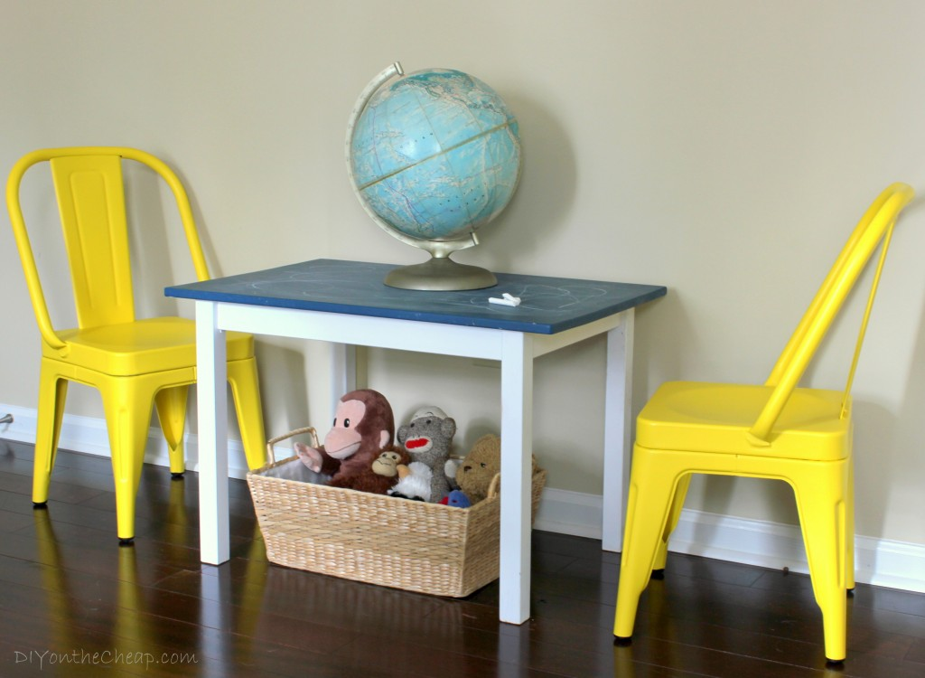 Cute kid's chalkboard table and Little Garden Chairs from Home Decorators Collection.
